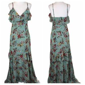 Lady Voxy Chiffon Mint Seafoam Floral Tiered Dress